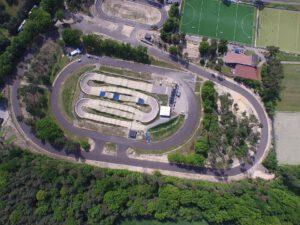 Das Gelände des Radparks Herungerberg aus der Luftansicht