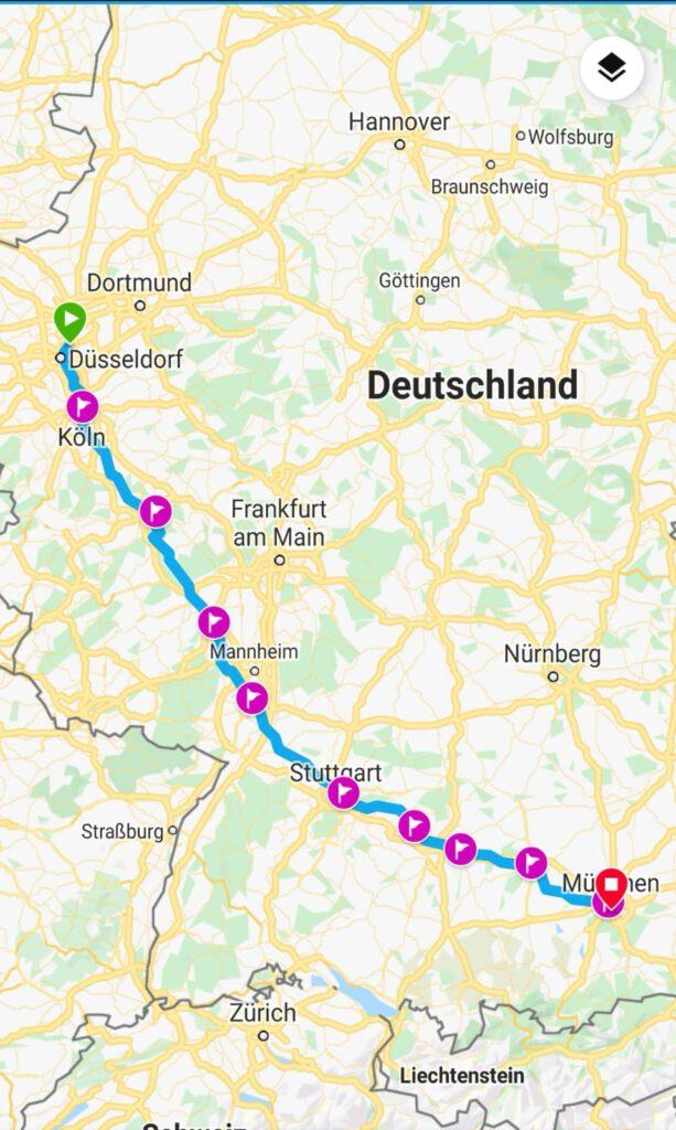 Düsseldorf-München: in einer Tour